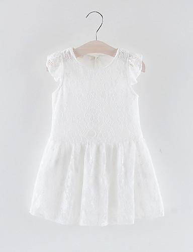 1286 Bébé Para Meninas Doce Sólido Renda Sem Manga Acima Do Joelho Vestido Branco