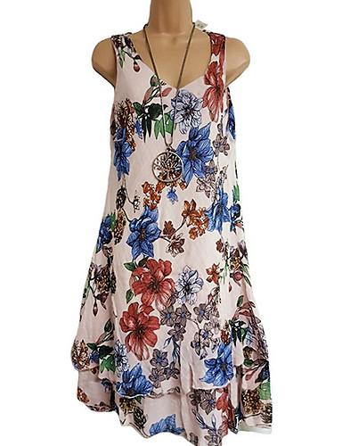 levne Maxi šaty-Dámské Plážové Štíhlý A Line Tričko Swing Šaty Květinový Dovolená Maxi Ramínka
