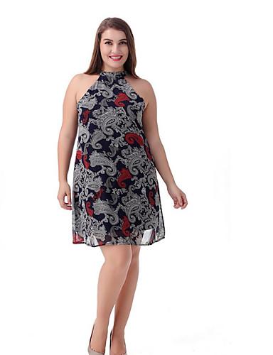 levne Šaty velkých velikostí-Dámské Větší velikosti Základní Pouzdro Šaty - Geometrický Délka ke kolenům Lodičkový