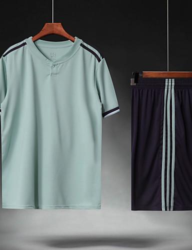 preiswerte Fußball-Hemden und Shorts-Herrn Fußball Fußballtrikot und Shorts Sportkleidung Atmungsaktiv Schweißableitend Teamsport Aktives Training American Football Streifen Polyester Erwachsene Grau