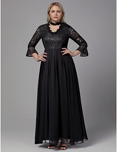 voordelige Grote maten jurken-A-lijn V-hals Tot de grond Kant Schoolfeest Jurk met Lace Insert door TS Couture®