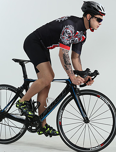 cheap Cycling-BOESTALK Men's Short Sleeve Cycling Jersey with Bib Shorts Summer Spandex Black Solid Colored Skull Bike Breathable Back Pocket Sweat wicking Sports Solid Colored Mountain Bike MTB Road Bike Cycling