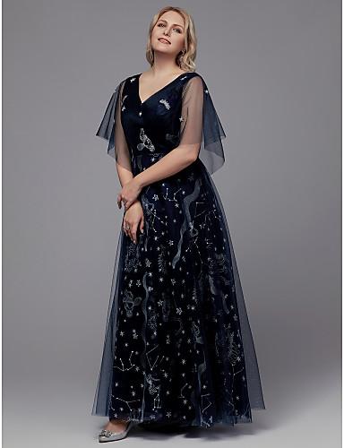 voordelige Grote maten jurken-A-lijn V-hals Tot de grond Tule Glitter & Sprankel Schoolfeest Jurk met Appliqués / Lace Insert door TS Couture®