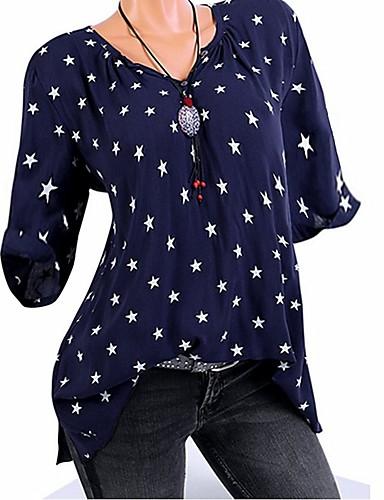 billige Dametopper-V-hals T-skjorte Dame - Galakse / Grafisk, Nagle / Lapper / Trykt mønster Lilla