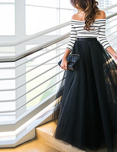 preiswerte Damen zweiteilige Anzüge-Damen Ausgehen Elegant Lang Set - Gestreift, Gitter Schulterfrei Hohe Taillenlinie Rock / Sexy