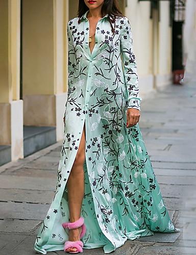 voordelige Maxi-jurken-Dames Slank A-lijn Jurk - Bloemen, Print Overhemdkraag Maxi
