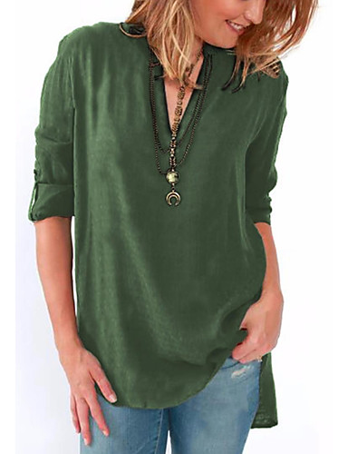 preiswerte Top taglie forti da Donna-Damen Solide Bluse, V-Ausschnitt Fuchsia