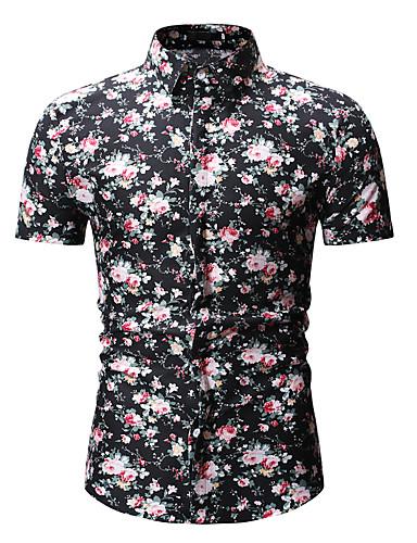 billige Herreklær-Bomull Skjorte Herre - Blomstret / Geometrisk, Trykt mønster Svart