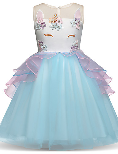 25ebfacbac42 Princess Midi Flower Girl Dress - Satin / Tulle Sleeveless Jewel Neck with  Appliques / Embroidery / Tier by LAN TING Express 7183355 2019 – $39.99