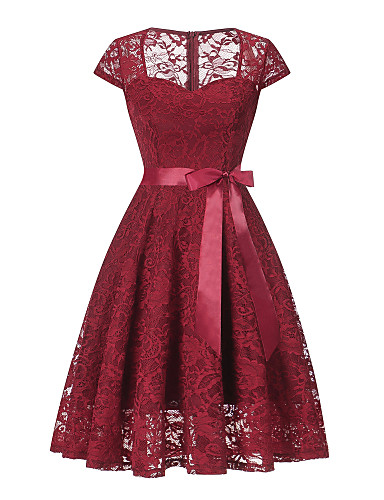 cheap Special Occasion Dresses-Back To School A-Line Vintage Red Homecoming Cocktail Party Dress Queen Anne Short Sleeve Short / Mini Lace with Sash / Ribbon Lace Insert 2020 Hoco Dress