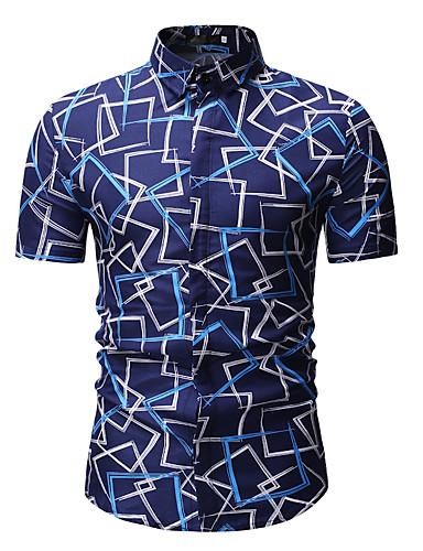 preiswerte Schöne modische Herrenhemden-Herrn Geometrisch Hemd, Klassischer Kragen Druck Blau / Kurzarm