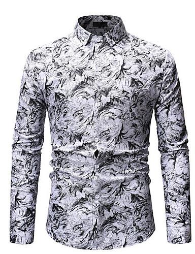 voordelige Herenoverhemden-Heren Overhemd Katoen Geometrisch blauw