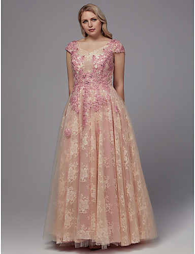 voordelige Grote maten jurken-A-lijn V-hals Tot de grond Kant Schoolfeest Jurk met Appliqués / Lace Insert door TS Couture®