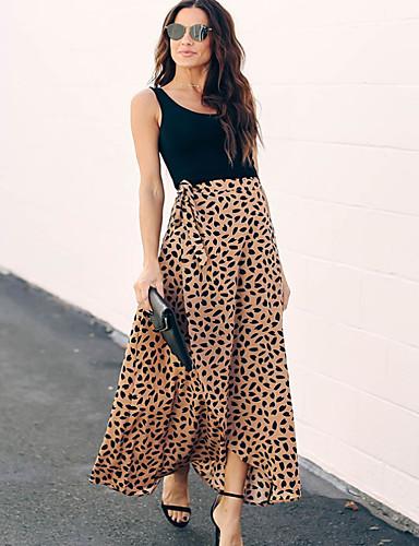 levne Maxi šaty-Dámské Základní Pouzdro Šaty - Leopard Maxi