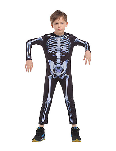 cheap Kids Halloween Costumes-Skeleton / Skull Cosplay Costume Kid's Boys' Outfits Halloween Halloween Masquerade Festival / Holiday Polyster Black Easy Carnival Costumes Printing / Leotard / Onesie / Leotard / Onesie