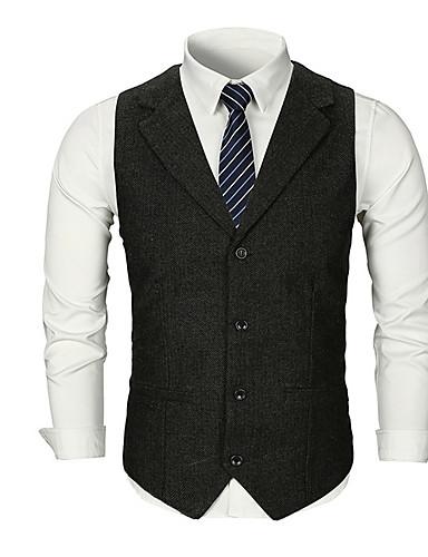 voordelige Herenblazers & kostuums-Heren Dagelijks Standaard Herfst Normaal Vest, Effen V-hals Mouwloos Polyester Zwart / Donkergrijs / Lichtgrijs