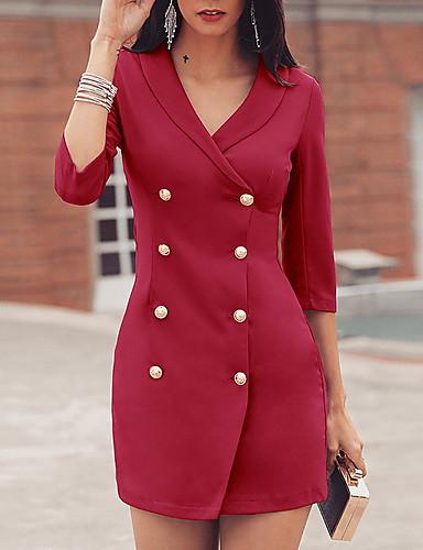 levne Pracovní šaty-Dámské Štíhlý Bodycon Šaty Formální styl Tlačítko Délka ke kolenům Do V