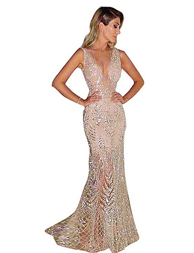 cheap Women's Clothing-Fashion Glitter Dresses Women's Elegant Trumpet / Mermaid Dress - Solid Colored Sequins Gold Silver L XL XXL