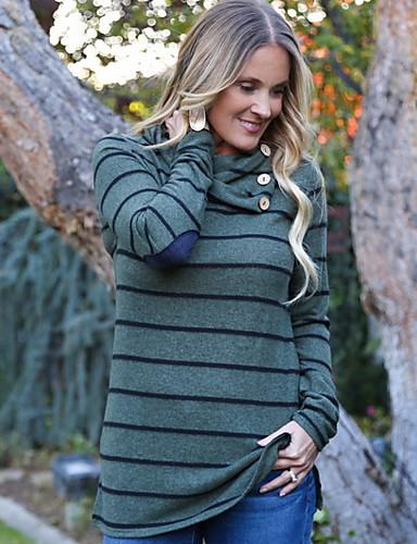 billige T-skjorter til damer-Tynn Store størrelser T-skjorte Dame - Stripet, Drapering Grønn