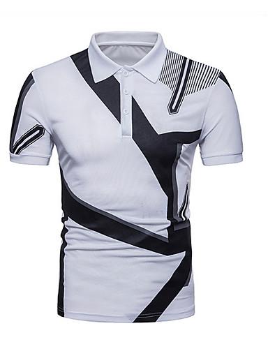 levne Pánská polo trika-Pánské - Barevné bloky Polo Košilový límec Bílá