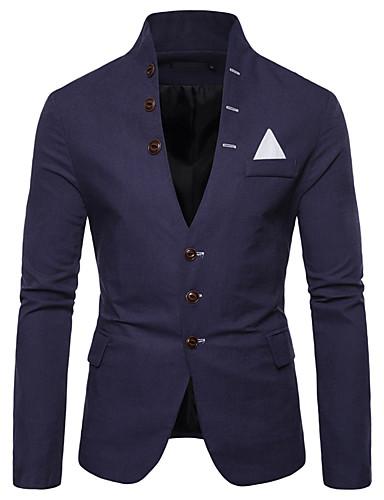 Herre EU / USA størrelse Blazer, Ensfarget Skjortekrage Polyester Rød / Navyblå / Kakifarget