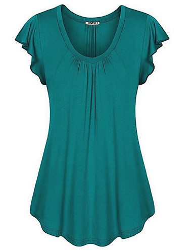 billige Dametopper-Store størrelser T-skjorte Dame - Ensfarget, Drapering Fuksia