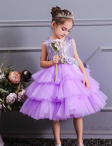 139e76088 Princess Knee Length Flower Girl Dress - Satin / Tulle / Sequined  Sleeveless Jewel Neck with Petal / Bow(s) / Tier by LAN TING Express  7176237 2019 – $44.99