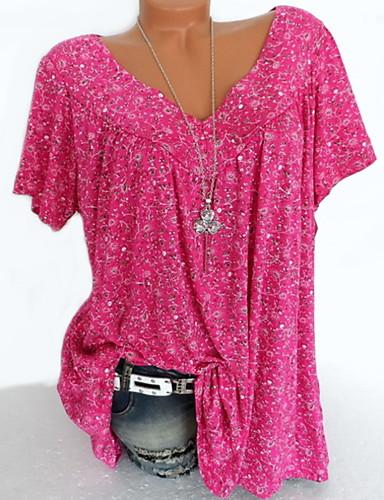 billige Dametopper-Bomull Tynn V-hals T-skjorte Dame - Blomstret Beige