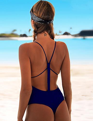 preiswerte Einteilige Badeanzüge-Damen Sport Grundlegend Rote Rosa Gelb Dreieck Cheeky-Bikinihose Einteiler Bademode - Solide Rückenfrei mit Schnürung S M L Rote