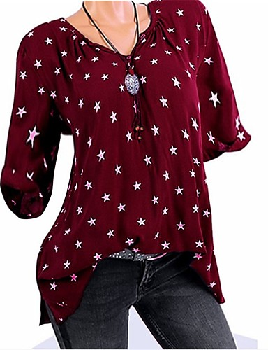 billige Topper til damer-V-hals T-skjorte Dame - Galakse / Grafisk, Nagle / Lapper / Trykt mønster Lilla