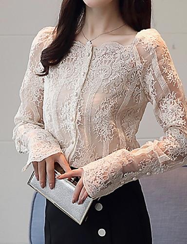 billige Skjorter til damer-Firkantet hals Skjorte Dame - Ensfarget, Blonde Hvit