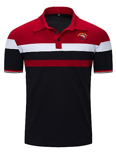 voordelige Herenpolo's-Heren Standaard EU / VS maat - Polo Kleurenblok Overhemdkraag Rood / Korte mouw