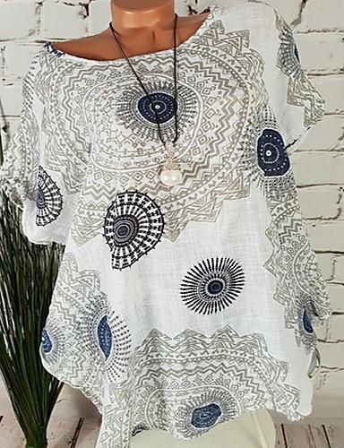 billige Dametopper-Bomull T-skjorte Dame - Tribal, Trykt mønster Navyblå