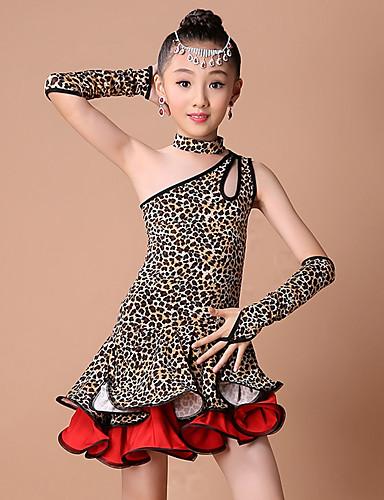 levne Shall We®-Latinské tance / Dětské taneční kostýmy Úbory Dívčí Trénink / Výkon Nylon / Elastický Vzor / Tisk / Kaskádové řasení Bez rukávů Šaty / Rukavice / Neckwear