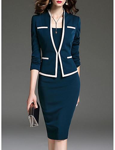 baratos Suéter & Cardigans-Mulheres Trabalho Saias Sólido Primavera / Decote V