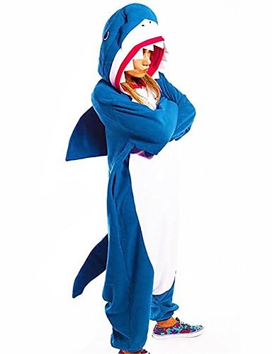povoljno Maske i kostimi-Shark Cosplay Nošnje Odrasli Muškarci Outfits Halloween Halloween Maškare Festival / Praznik Polyster Plava Karneval kostime Kolaž