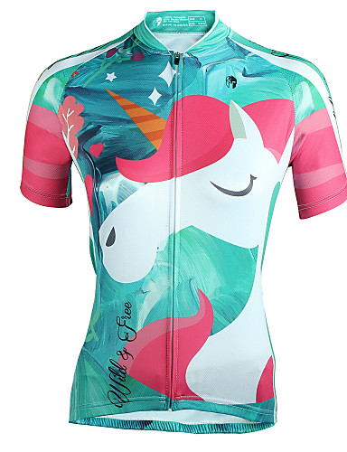 cheap Cycling-ILPALADINO Women's Short Sleeve Cycling Jersey Summer Polyester Mineral Green Cartoon Bike Jersey Top Triathlon UV Resistant Breathable Reflective Strips Sports Clothing Apparel / Back Pocket
