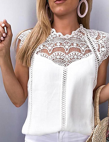 cheap Women's Tops-Women's Loose Blouse - Solid Colored Lace White / Spring / Summer