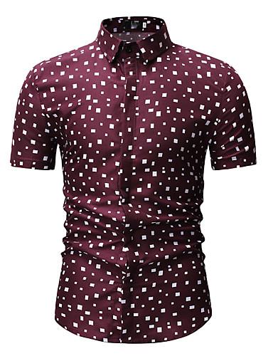 levne Pánské košile-Pánské - Puntíky Košile, Tisk Klasický límeček Bílá