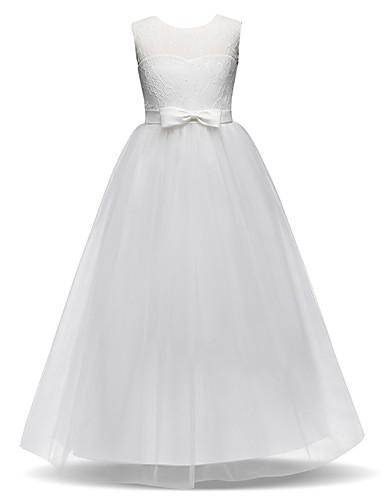 levne Krásné šaty-Princess Long Length Šaty pro květinovou družičku - Krajka / Tyl Bez rukávů Klenot s Mašle / Krajka podle LAN TING Express