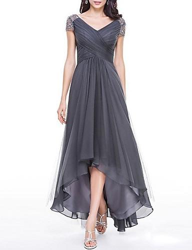 levne Maxi šaty-Dámské Větší velikosti Swing Šaty - Jednobarevné Maxi Do V / Párty / Vysoký pas