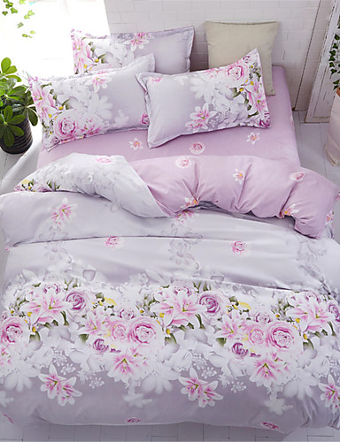 cheap Duvet Covers Hot Sales-Duvet Cover Sets Floral Polyster Printed 4 PieceBedding Sets