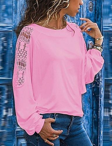 billige T-skjorter til damer-Løstsittende Store størrelser T-skjorte Dame - Ensfarget, Lapper Svart