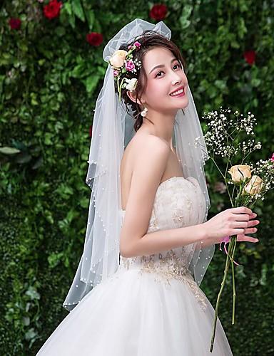 ชั้นเดียว ลูกไม้ ผ้าคลุมหน้าชุดแต่งงาน Elbow Veils กับ ไข่มุกเทียม ลูกไม้ / Tulle