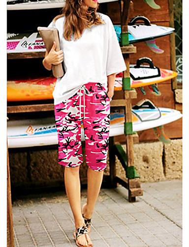 สำหรับผู้หญิง พื้นฐาน / Street Chic กางเกง Chinos / กางเกงขาสั้น กางเกง - ลายพิมพ์ / Tropical คลาสสิค / กีฬา / ลายพิมพ์ สีม่วง สีเหลือง ไวน์ L XL XXL