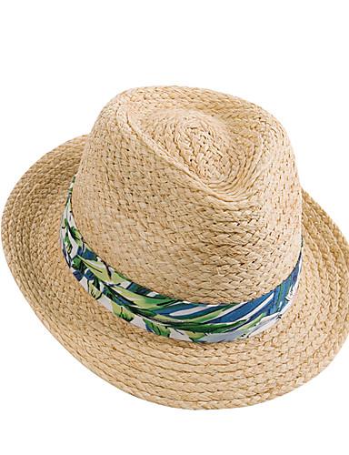 สำหรับผู้หญิง พิมพ์ดอกไม้ Straw พื้นฐาน-หมวกบัคเก็ต ฤดูใบไม้ผลิ ฤดูร้อน สีกากี
