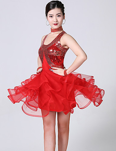 levne Shall We®-Latinské tance Šaty Dámské Trénink / Výkon Polyester / Spandex Vrstvené / Flitry Bez rukávů Vysoký Šaty