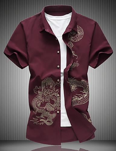 voordelige Herenoverhemden-Heren Grote maten - Overhemd Katoen dier Klassieke boord Slank Zwart / Korte mouw