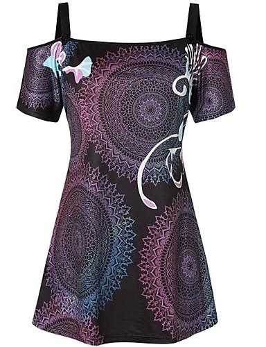 สำหรับผู้หญิง เสื้อเชิร์ต สาย รูปเรขาคณิต สีดำ M