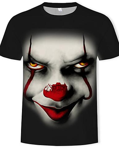 preiswerte Coole T-Shirts für Herren-Herrn 3D Übergrössen Baumwolle T-shirt, Rundhalsausschnitt Druck Schwarz